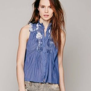 Free People embroidered button down top